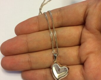 """Vintage sterling silver 3d heart shaped  pendant, with 925 silver twisted flatten chain, made in Italy, 20"""""""