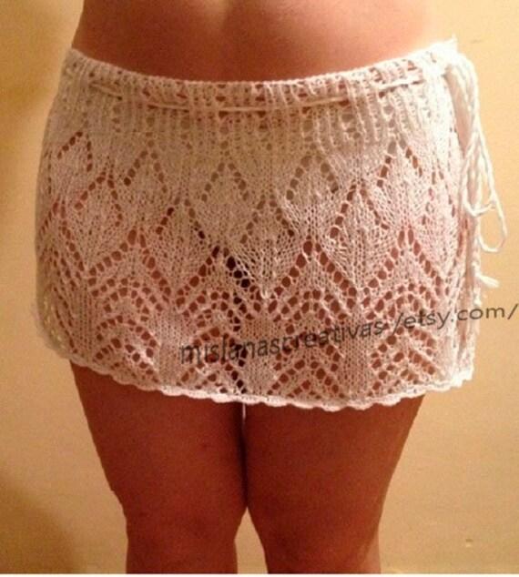 Knitting Crochet Beach Wrap Summer Lacy Skirt White Skirt