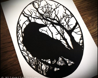 Commercial & Personal Use - Crow and Haunting Gothic Winter Woodland Trees Silhouette Paper Cut Template Papercut Cutting