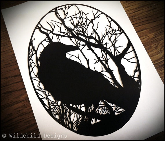 Crow Amp Haunting Gothic Winter Trees Silhouette Paper Cutting