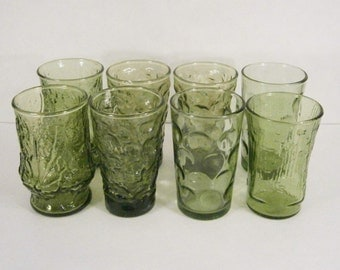 Vintage Set of 8 Avocado Green Textured Glass Juice Glasses, Mixed Styles
