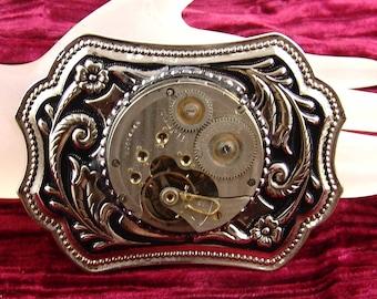 Steampunk Mens Belt Buckle - Antique 17 J Pocket Watch Movement SilverTone E1683