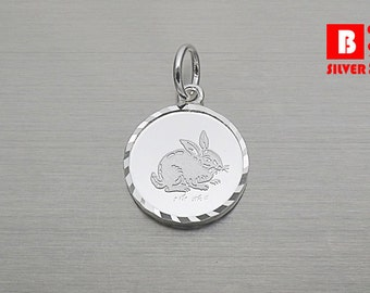925 Sterling Silver Pendant, Chinese Zodiac Year of the Rabbit Pendant, Careful Pendant (Code : N9C4)