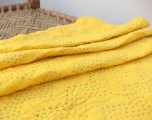 Yellow quilted bedspread, chevron pattern, zig zag quilting, cotton kantha quilt, 100% cotton, 60X90 inches