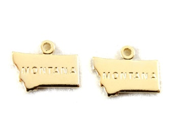 2x Gold Plated Engraved Montana State Charms - M114-MT