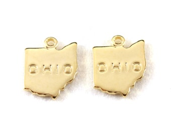 2x Gold Plated Engraved Ohio State Charms - M114-OH