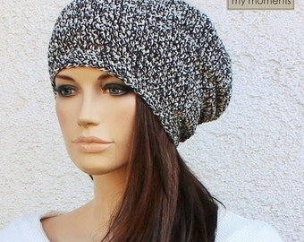 Crochet Hat / Cap Cotton black / white