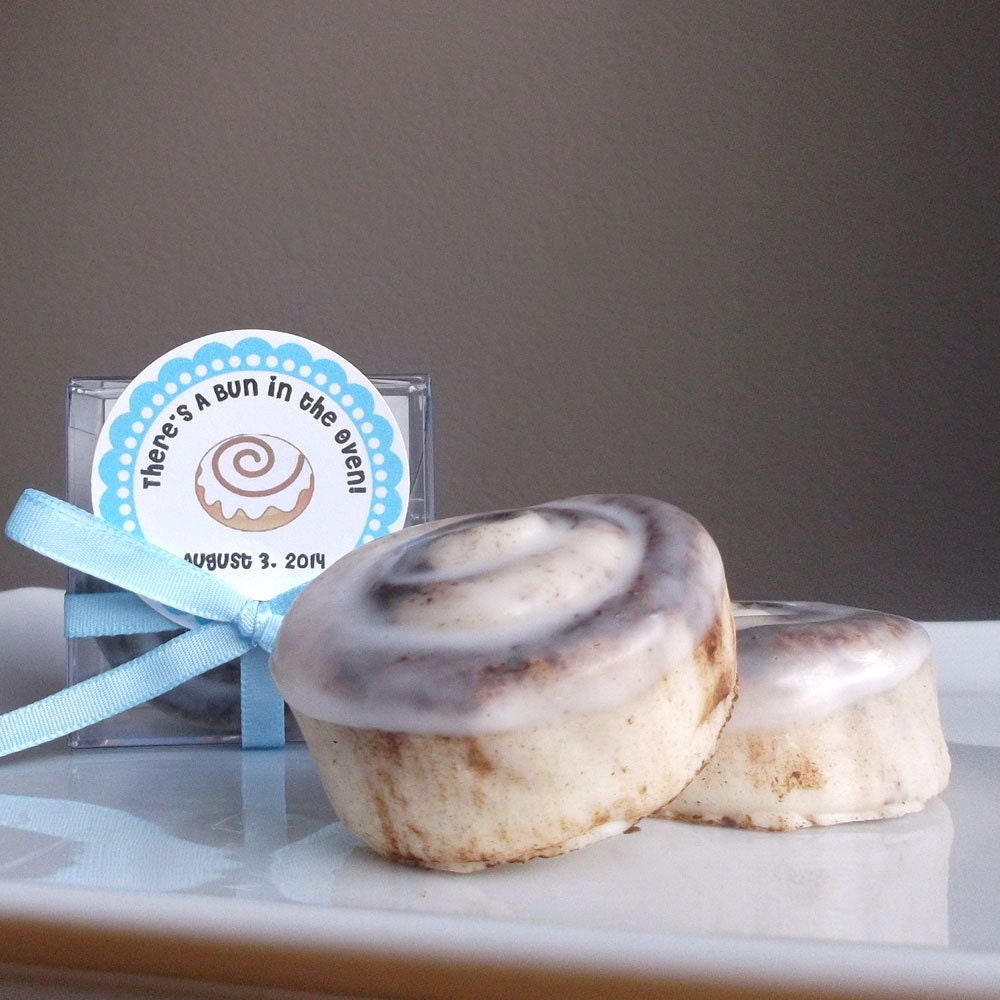 bun in the oven baby shower favor cinnamon bun soap party