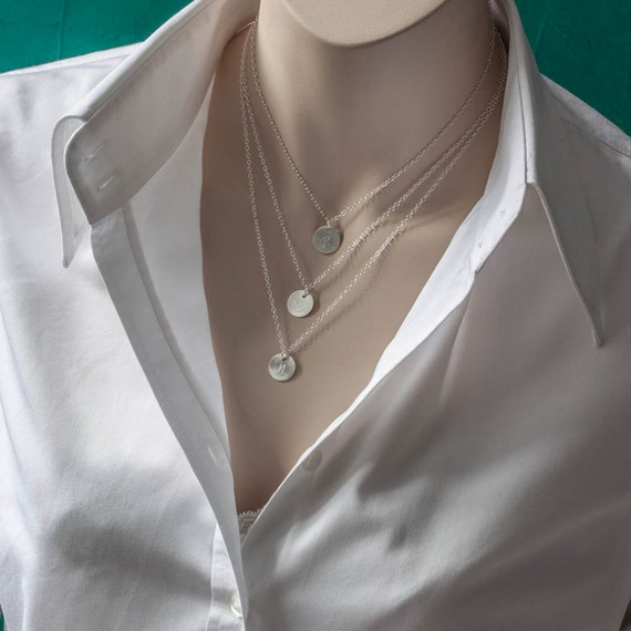 Engraved Triple Disc Layering Necklace Set By