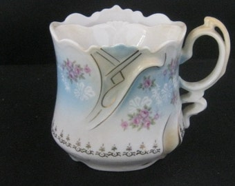 Vintage Shaving Scuttle, China Shaving Mug, Muted Colors,  Collectible
