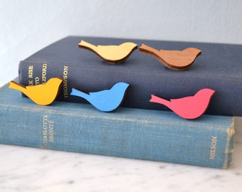 Painted Wooden Bird Brooch Pin  - bird Badge - bird silhouette brooch - colourful bird pin - wooden bird brooch