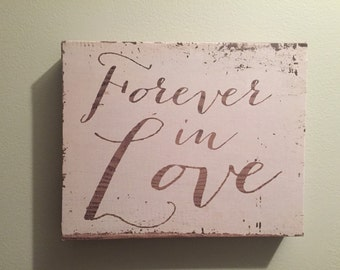 Forever in Love Canvas Art Faux Wood Rustic Wedding Decor Wall Hanging valentine gift