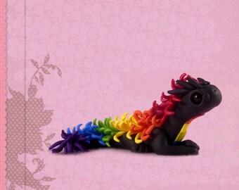 Dragon figure handmade polymer clay figurine fantasy sculpture