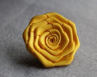 Yellow lapel flower, lapel flowers, mens lapel flower pin, lapel flower for men, mens button lapel flower, mens flower lapel