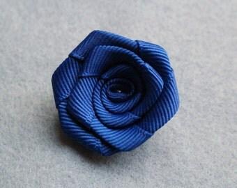 Blue Textured flower lapel pin