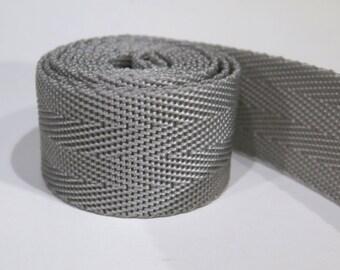 3 yards of 1.25 inch / 32mm grey webbing, strap (WB29)