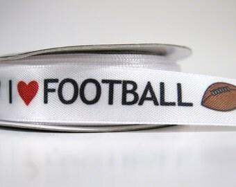 "5 yards of 5/8 inch ""football"" satin ribbon"
