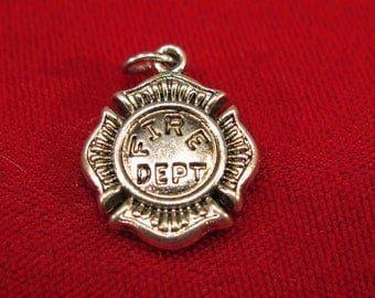 "3pc ""fire dept"" charms in antique silver style (BC631)"