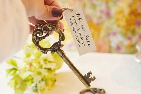 wedding favor antique gold key bottle opener with personalized. Black Bedroom Furniture Sets. Home Design Ideas