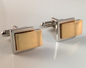 Personalized Cuff Links Engraved for Free, Two Tone Gold and Silver Designer Cuff Links Customized