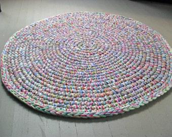area rug| 3ft round rug| crochet yarn rug| girls room|  nursery home decor|