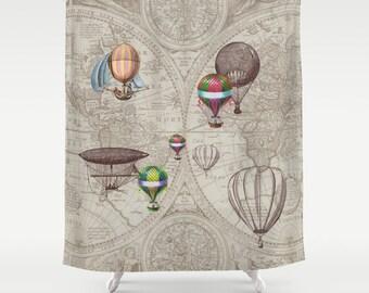 "Hot Air Balloon Style Shower Curtain -""Balloon Festival"" antique map - derigibles, retro Steampunk bathroom decor beige brown Extra Long"