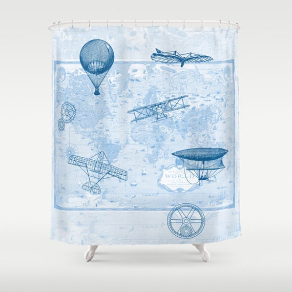 items similar to airplane shower curtain history of flight home decor bathroom maps. Black Bedroom Furniture Sets. Home Design Ideas