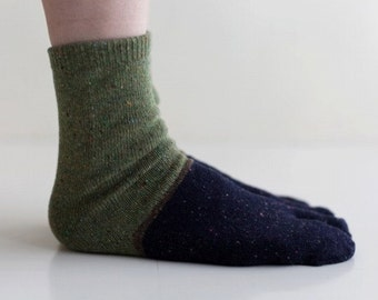 men's WOOL Tabi Split Toe Socks Flip Flop Socks