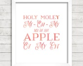 8x10 INSTANT DOWNLOAD - You're The Apple Of My Eye - Home - Art Print - Home & Nursery Decor – Typography