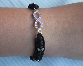 Infinity silk cord bracelet, black silk cord infinity bracelet, lavender infinity bracelet, Rattail cord infinity bracelet,