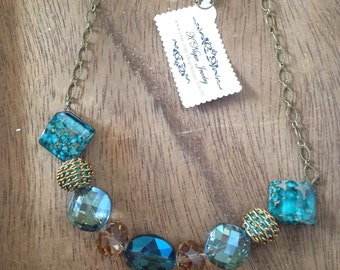 Acrylic Crystal and Stone Blue Necklace by K'nique Jewelry