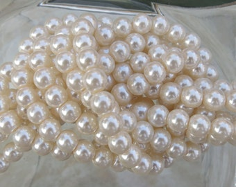 6mm Ivory Colored Glass Pearl Strand 16in. (i126)