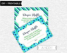 Instant Download Lime, Blue, Navy, Polka dots, stripes, Baby Shower Party Diaper Raffle cards Baby shower DIY Printable (PDDO001)