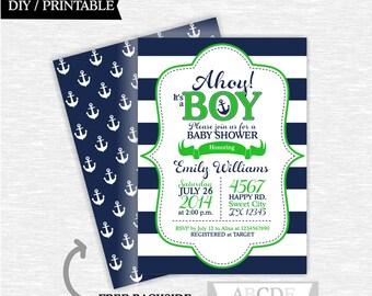 Nautical baby shower invitation boy printable baby shower invitation Green navy nautical invitation digital invitation (PDNMO002)