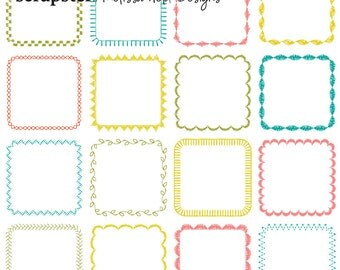 Embroidered Square Frames Digital Clipart