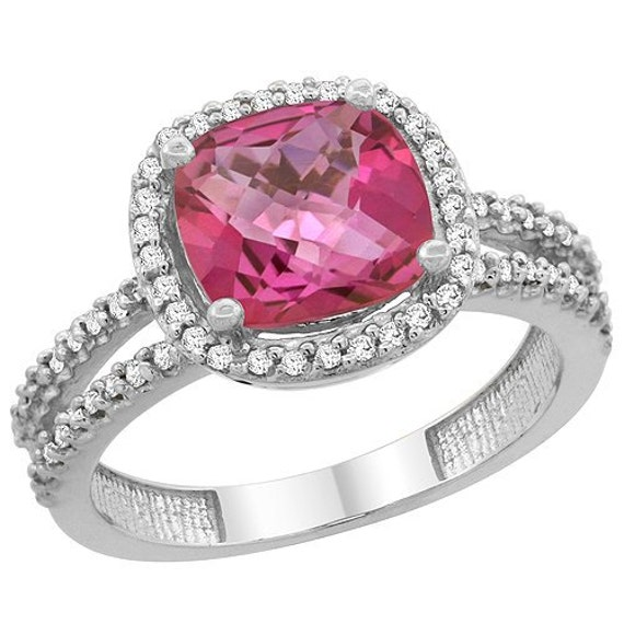 10k white gold pink topaz ring cushion cut by