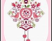 Cross stitch pattern - Apple-Bird-Clock - PDF pattern - instant download!