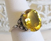 Art Deco Citrine Seed Pearl Sterling Silver Engagement Ring/ Antique Vintage Style