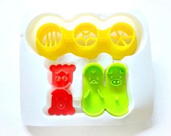 Set of 3 Sausage Cutters/Frankfurter Cutters/Stencils. Cute Japanese Fun Food Mold. Food Cutter. Food Shape Maker. Cookie Cutter.