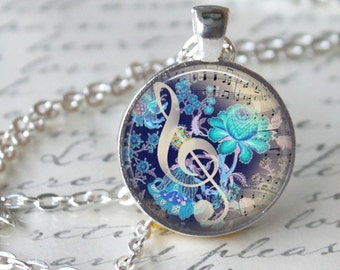 MUSIC NOTE Necklace Pendant Vintage G Clef Music Note Glass Pendant Handmade Jewerly Musical Pendant (104)