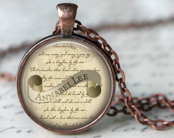EDGAR ALLAN POE Annabel Lee Necklace Literary Jewelry Pendant Book Art Necklace Handmade Jewelry Edgar Allan Poe jewellery