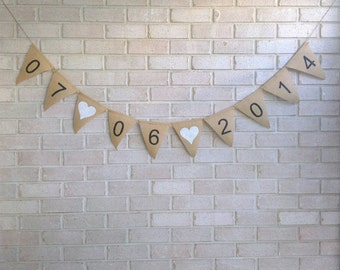 Save The Date (Made to Order) Hessian Burlap Banner Wedding Decoration Bunting