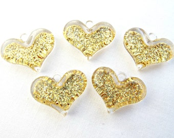 5 Gold Heart Charms, Glitter Pendants, Resin Heart Charms, Chunky Hearts, Sparkle Pendants, Bubblegum Necklace, UK Seller, Jewelry Supplies