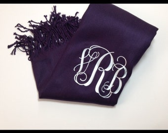 Dark Purple Monogramed Pashmina Scarf - Mulberry Violet Scarf Wrap - Personalized Wrap - The Applwood Lane