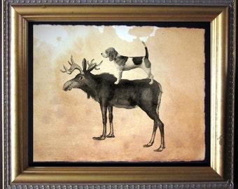Beagle Dog Riding Moose - Vintage Collage Art Print on Tea Stained Paper - Vintage Art Print - Vintage Paper