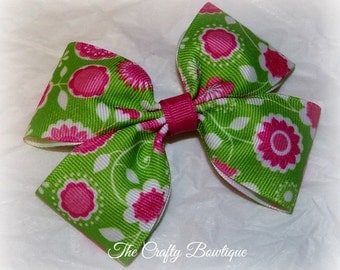 Pink Flower Bow ~ Pink & Green Bow ~ Flower Hair Clip ~ Large Flower Bow ~ Flower Hair Bow ~ Baby Toddler Bow ~ Green Flower Bow ~ Spring
