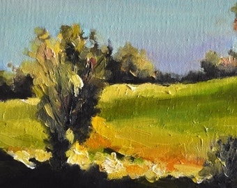 Original Landscape Painting, Impressionist Oil Landscape 5x7 Inch Framed. Ready To Hang, Free Frame