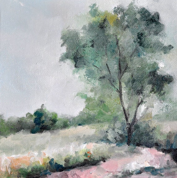 Original Oil Painting, Impressionist Tree, Landscape Painting 6x6 Inch