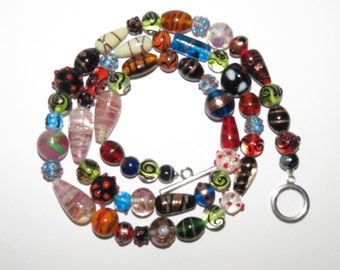 Colorful eclectic glass and ceramic bead long necklace