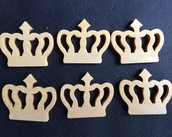 12Pcs  35x30mm Wood  Crown charm No varnish  (W1068)